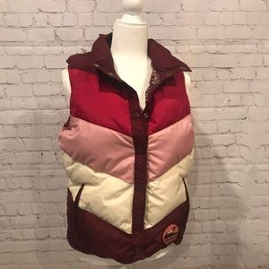 Pink Chevron stripe puffy vest